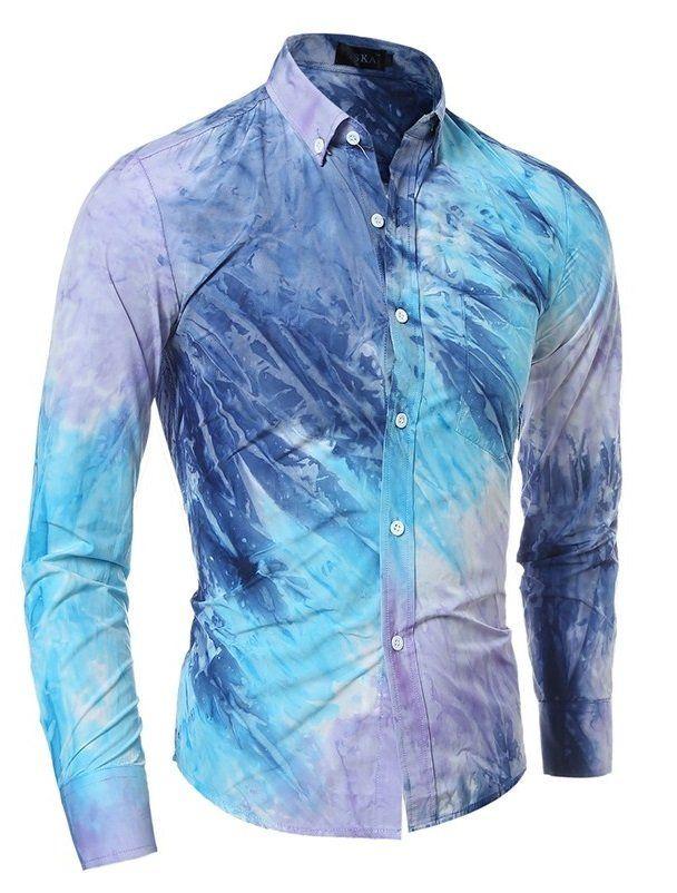 0931c8b591 Camisa Casual en Dos Colores - Degrade Mezclado - en Azul y Amarillo ...