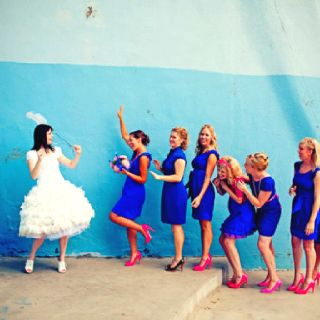 Cobalt blue bridesmaids all slightly different! and bright pink shoes! #cobaltdress