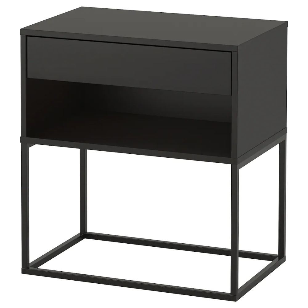 "VIKHAMMER Nightstand, black, 23 5/8x15 3/8"" IKEA in 2020"