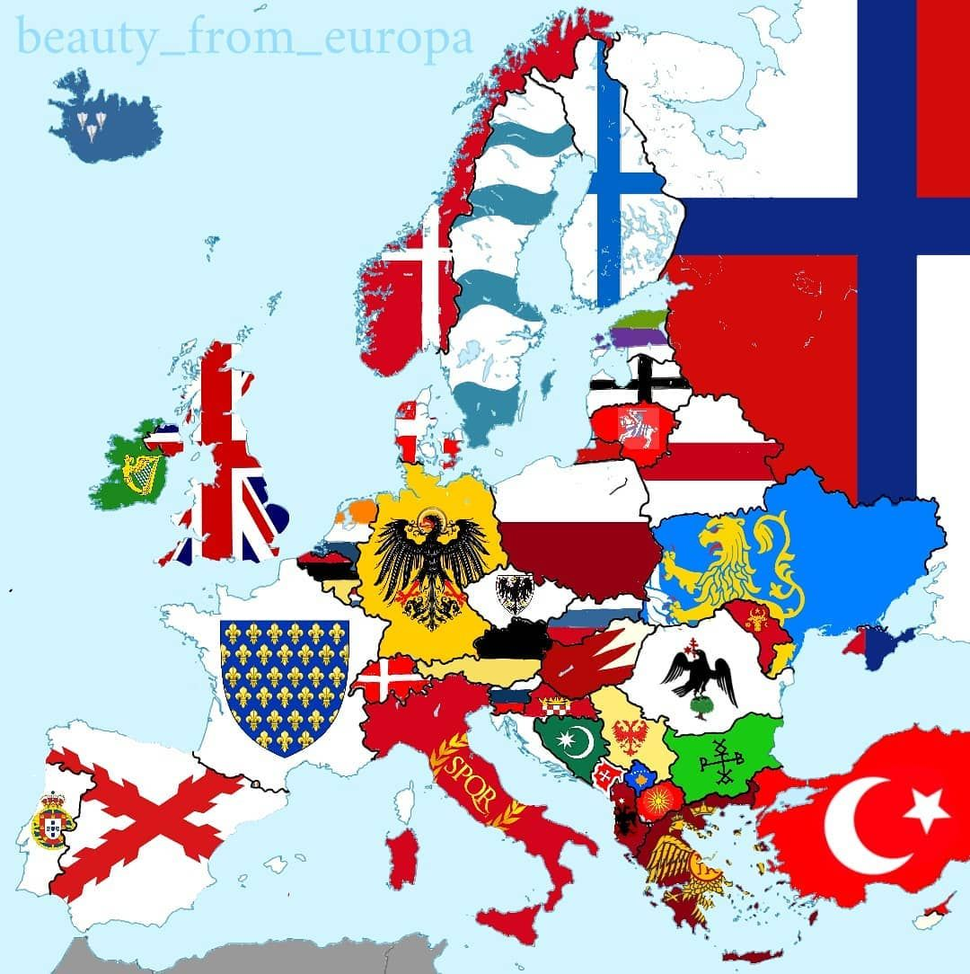 First Used Or Imperial Flag Of Each Country In Europe