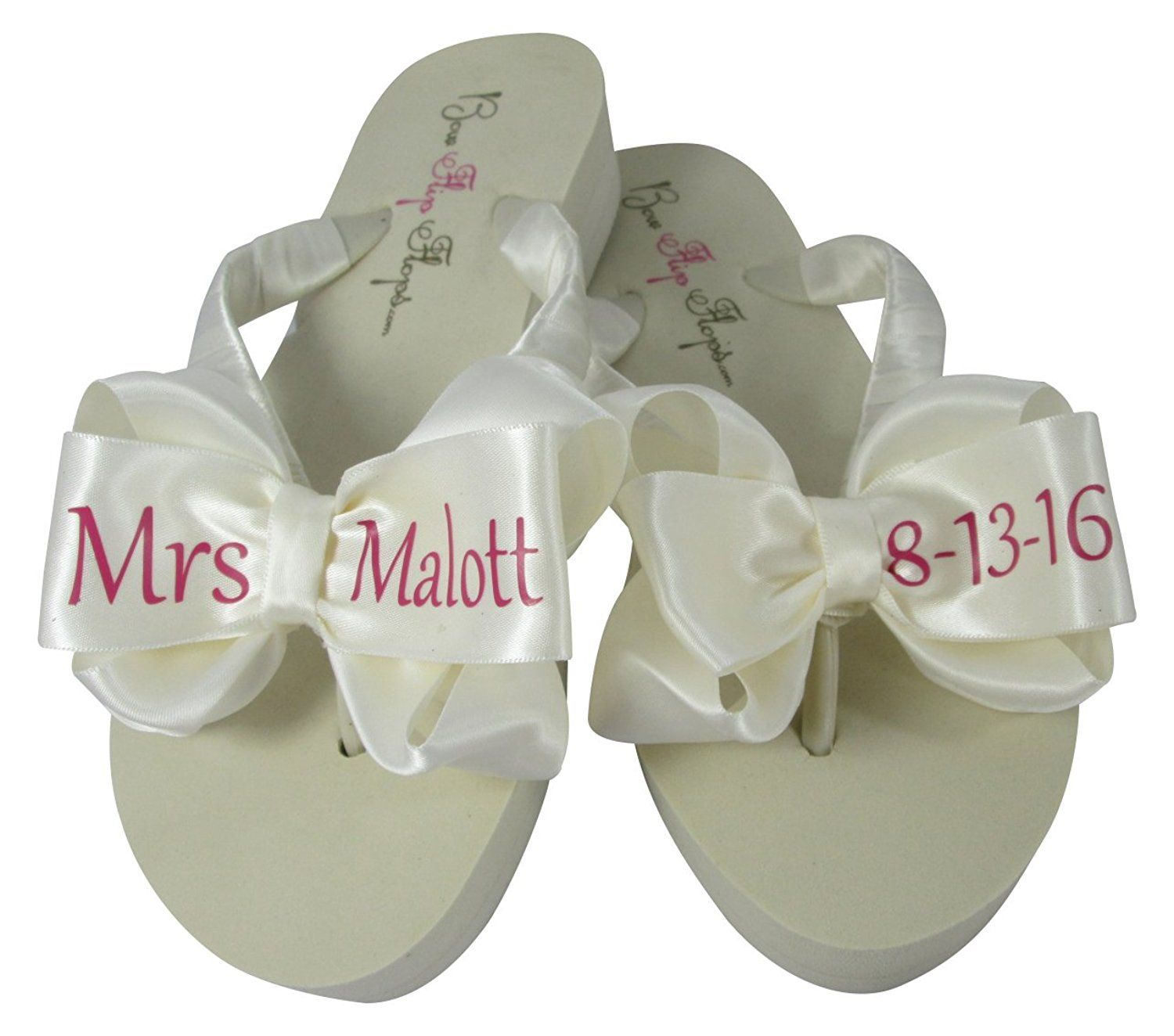 Inch Customizable Bridal Flip Flops Ivory White Sandals Bows Mrs Personalization Visit