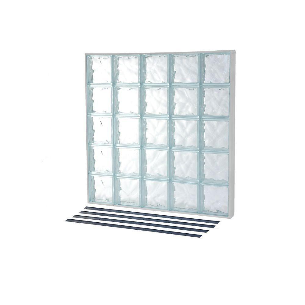 Tafco Windows 31 25 In X 13 75 In Nailup2 Wave Pattern Solid Glass Block Window Nu2 3214ws Glass Block Windows Glass Blocks Vinyl Frames