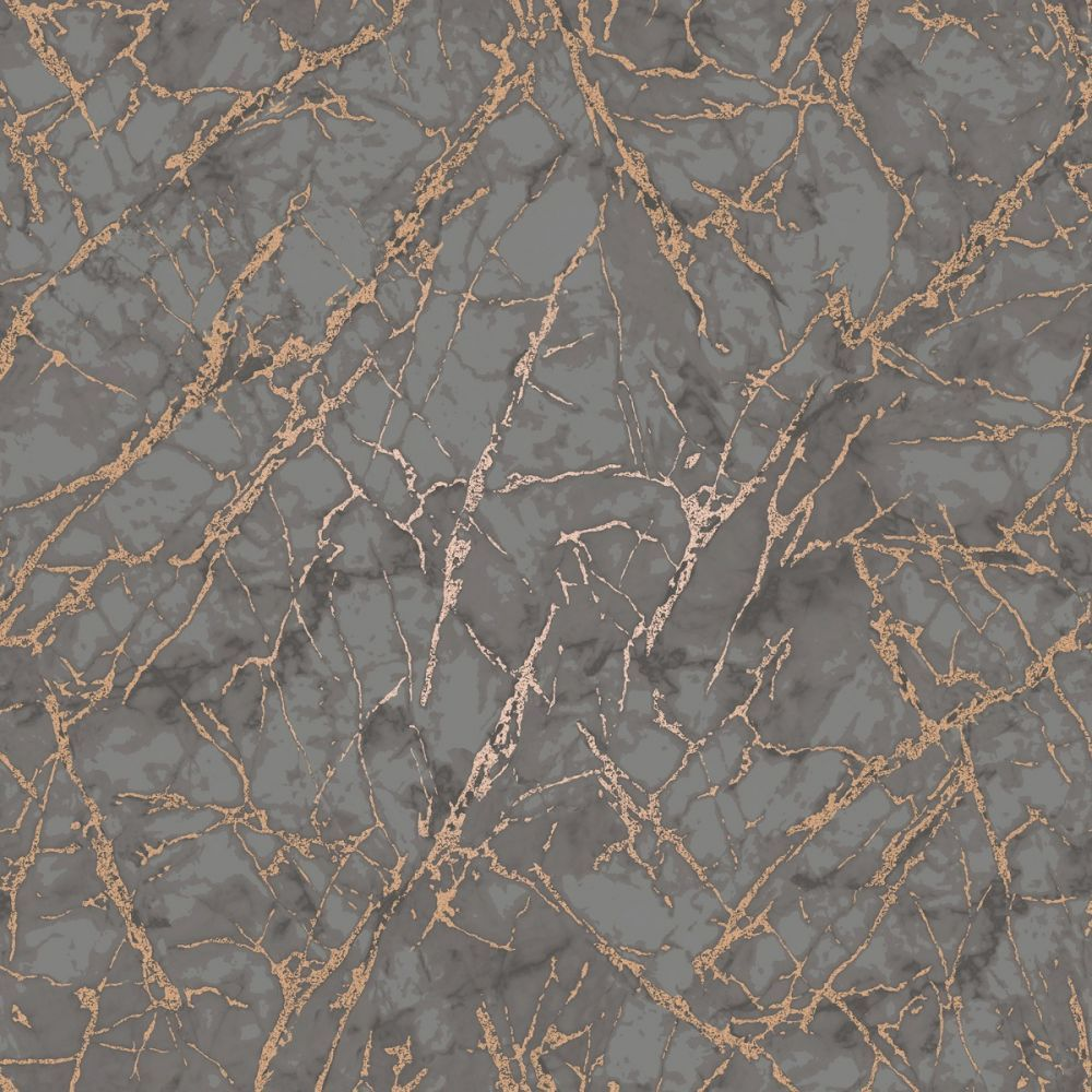 Metallic Marble Wallpaper Charcoal and Copper Fine Decor