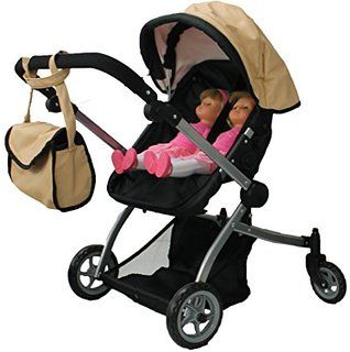 Multi Function View All Photos 9651A Pink Babyboo Luxury Leather Look Twin Doll Pram//Stroller with Free Carriage