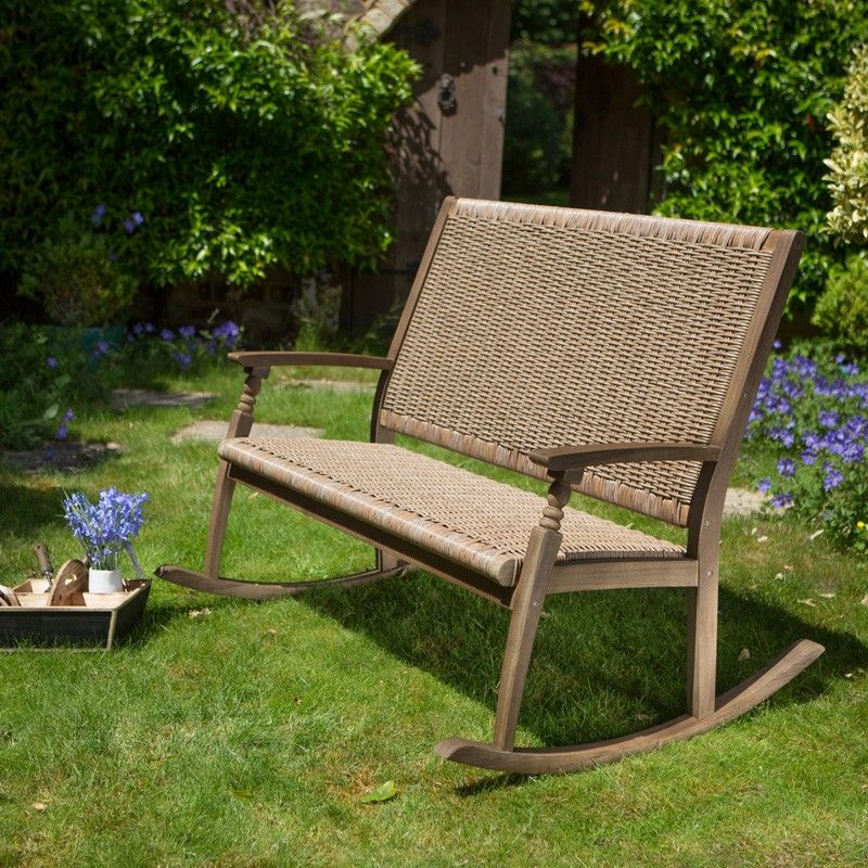 Garden Furniture Vintage hanoi vintage 2 seat rocking bench, wicker and wooden outdoor