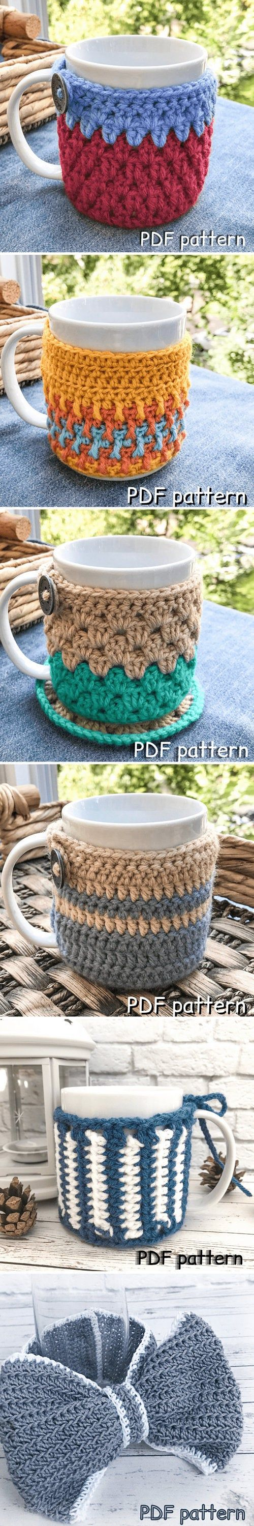 CROCHET PATTERN cup cozy mug warmer bow wrapping cat dog clothes vase decoration easy bow crochet pattern easy DIY gift wrapping cup sleeve
