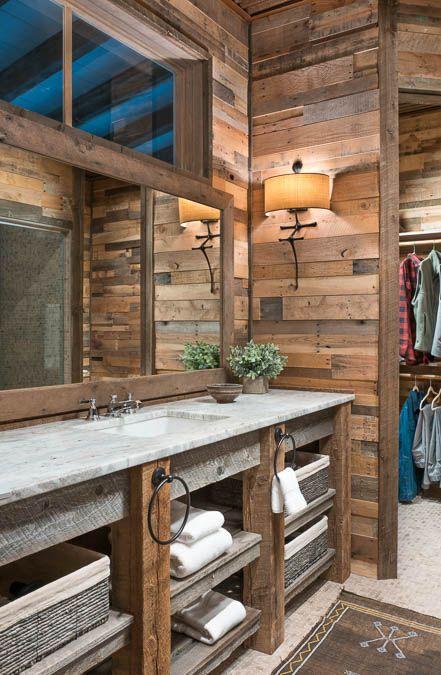 Great Looking Rustic Bathroom Featuring Our Recycled Prefab Pallet Wood Wall Panels Rustic Bathroom Designs Rustic Wood Floors Interior Wood Paneling