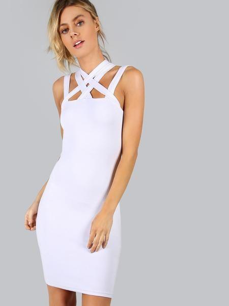 White Criss Cross Bodycon Dress   Pinterest