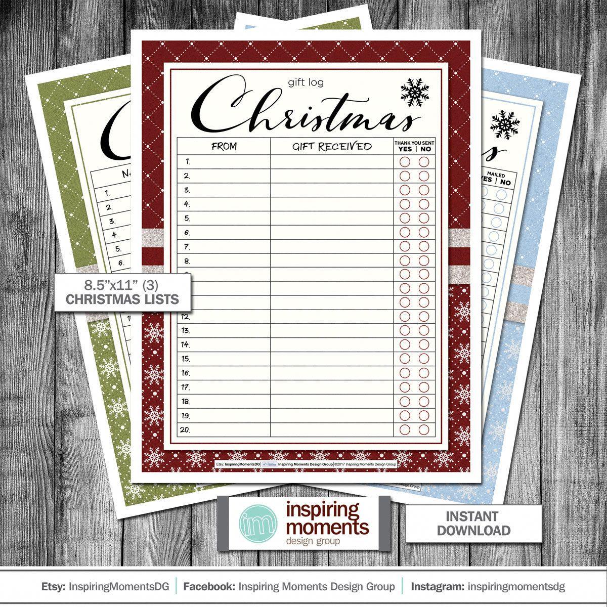 Christmas Lists Printable Planner Christmas Card List