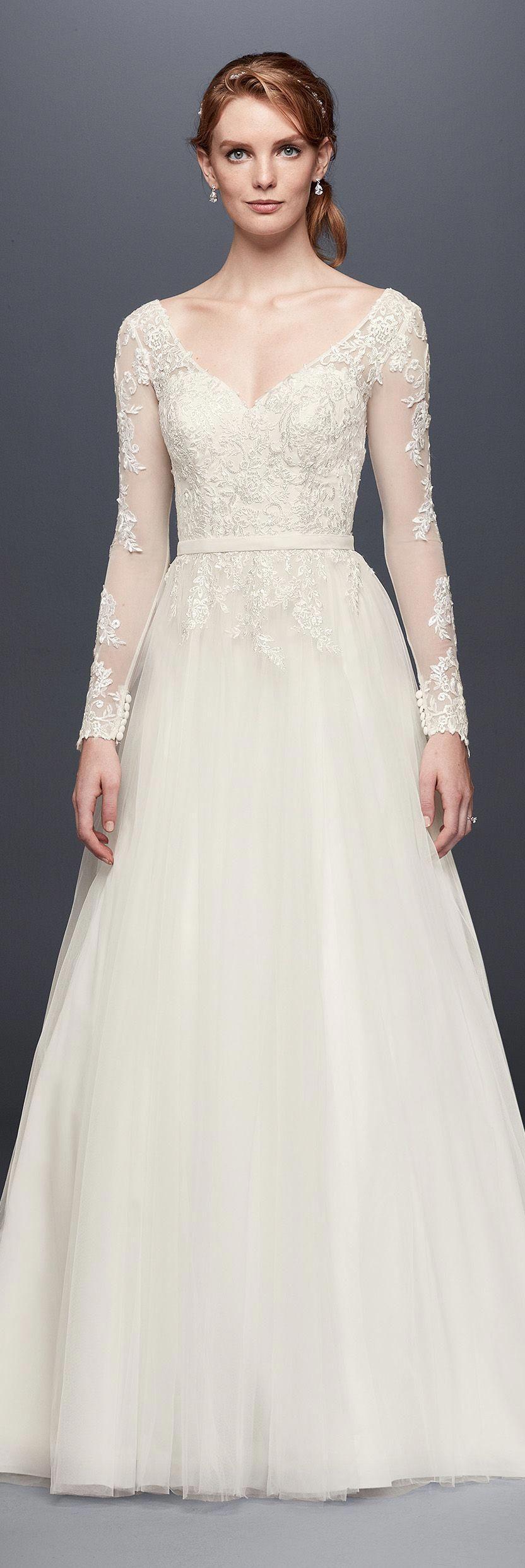 Long sleeve wedding dress with low back davids bridal