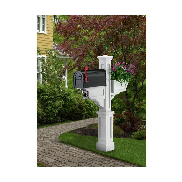 Mayne Signature Plus White Mailbox Post ($200) ❤ liked on Polyvore featuring home, outdoors, outdoor decor, white planter and white mailbox