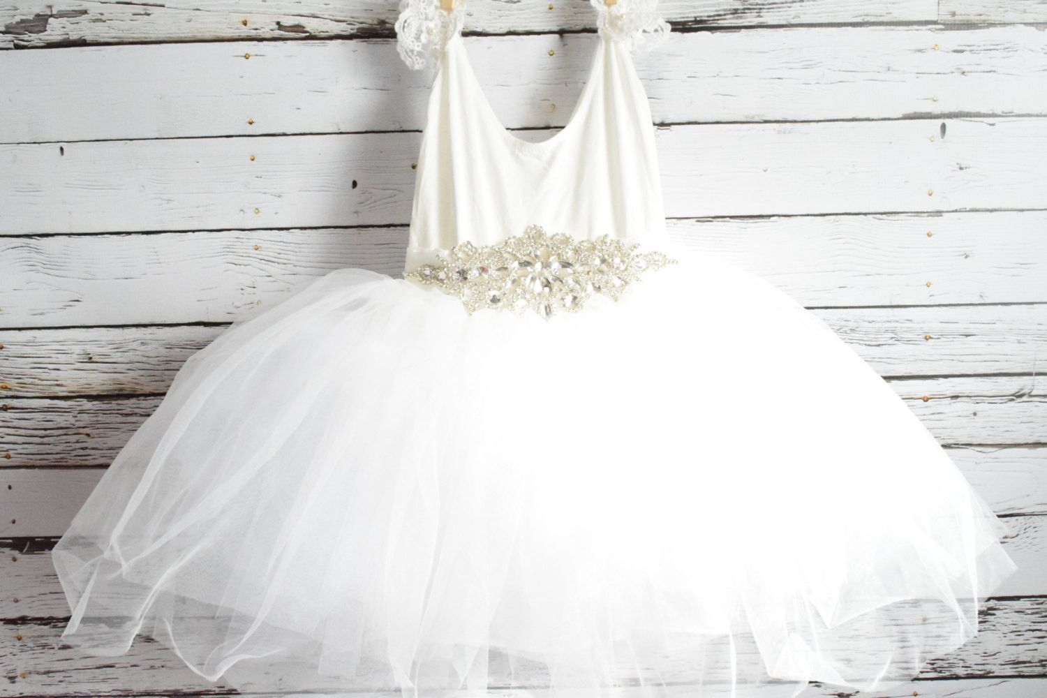 Custom january snow soft and flowing tutu dress in white diamond