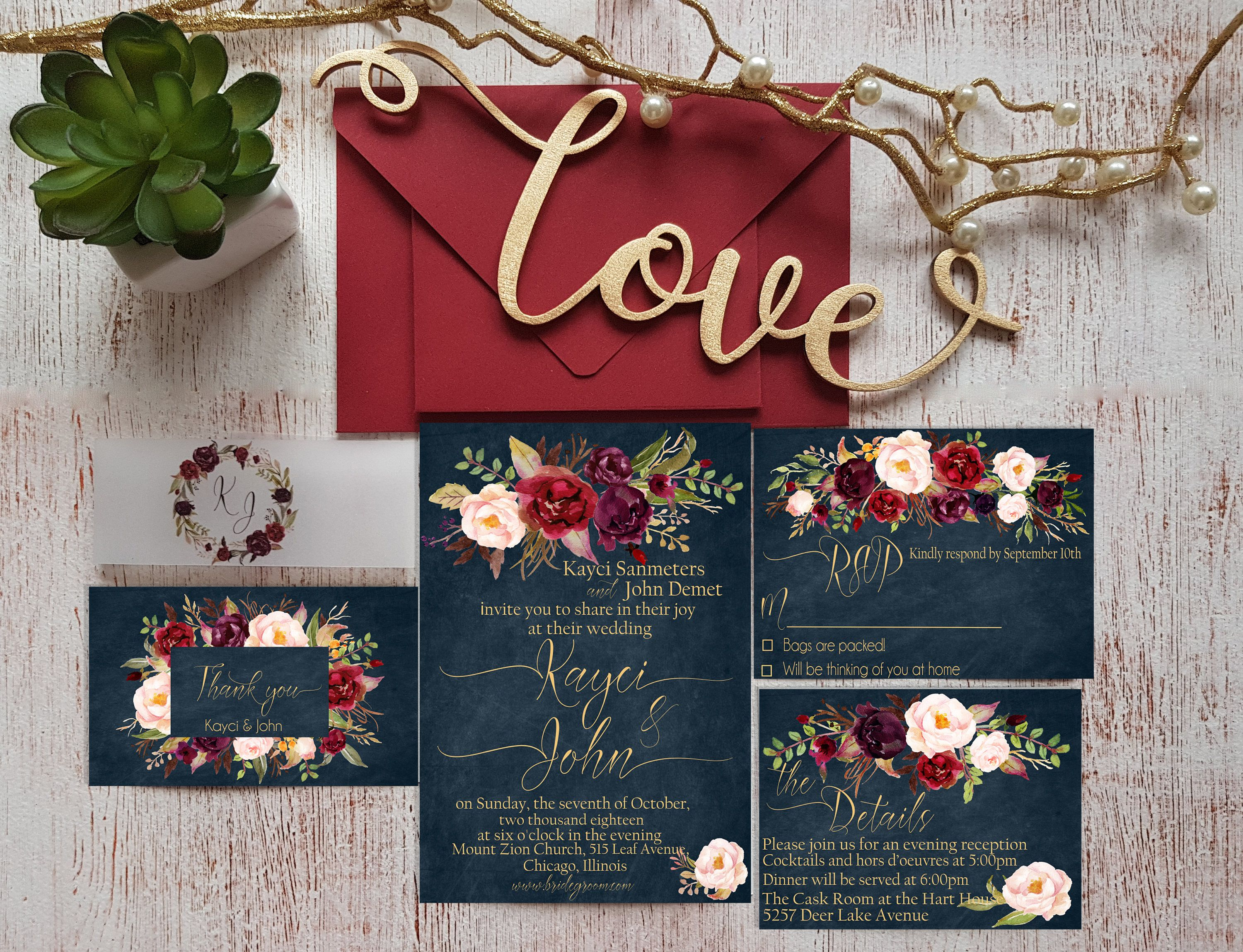 Navy Blue Wedding Invitations Suite Personalized Marsala Wedding ...