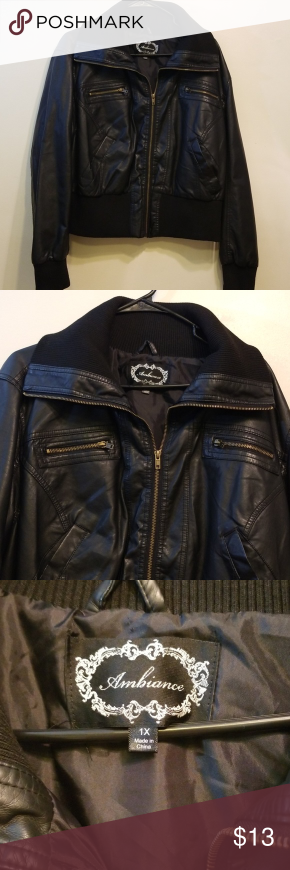 Ambiance Jacket Ambiance 1x Leather Look Alike Semi Heavy Jacket With Fold Down Top And Zipper Pockets Ambiance Jackets C Jackets Heavy Jacket Women Shopping [ 1740 x 580 Pixel ]