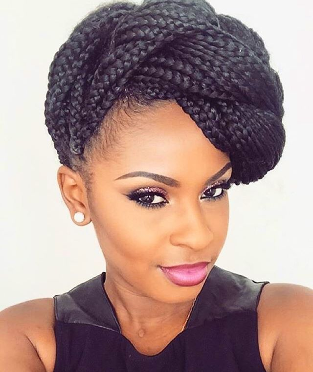 Voice Of Hair On Instagram Hairspiration Love This Braided Updo On Mua Pinkpoint Makeup E Box Braids Styling Natural Hair Styles Box Braids Hairstyles
