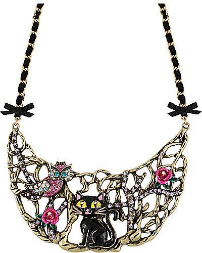 enchanted cat owl half moon necklace betsey johnson 2013