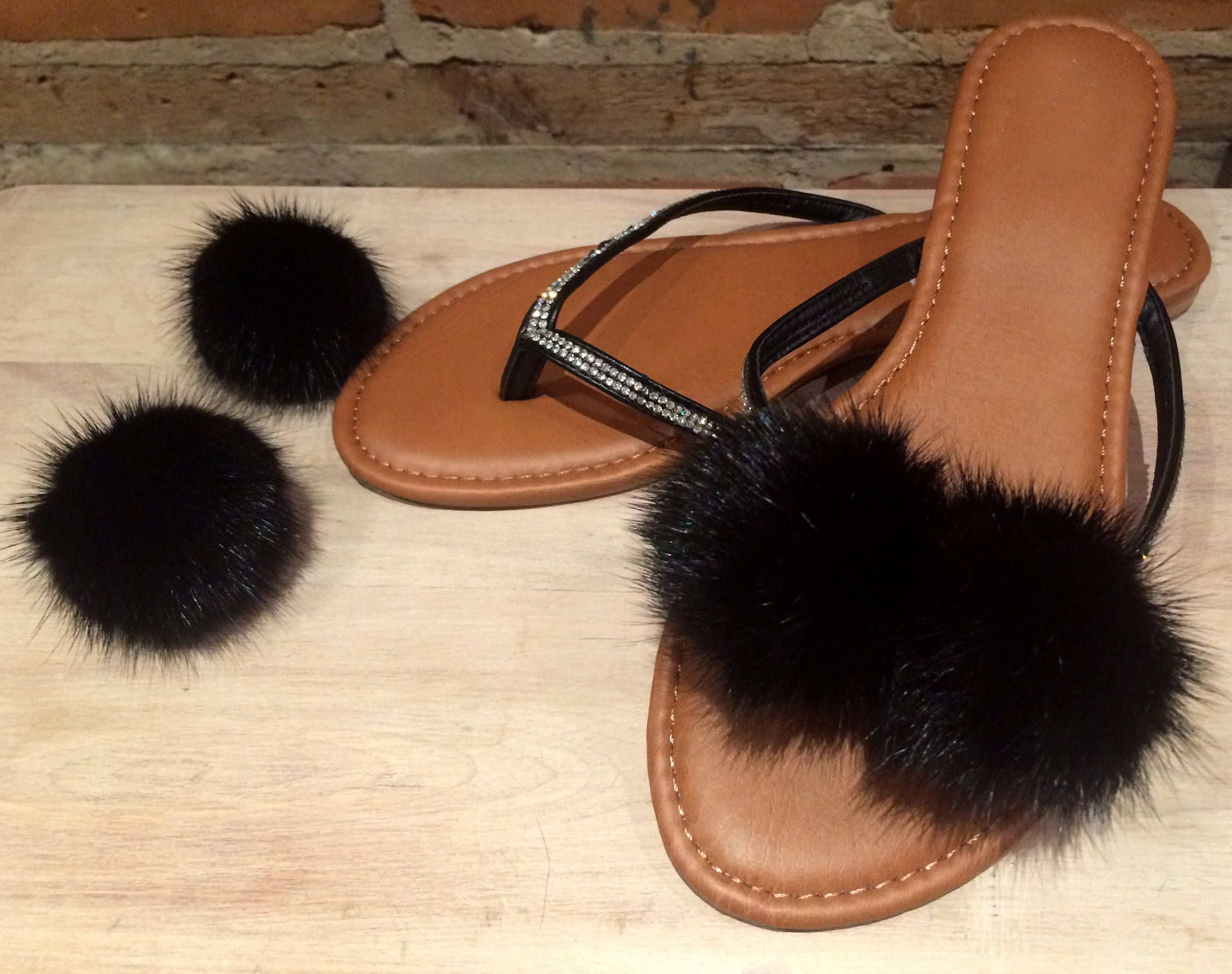 Black and Gray Clip for Shoes Rabbit Fur Shoe Clips 2 piece Shoe Accessories