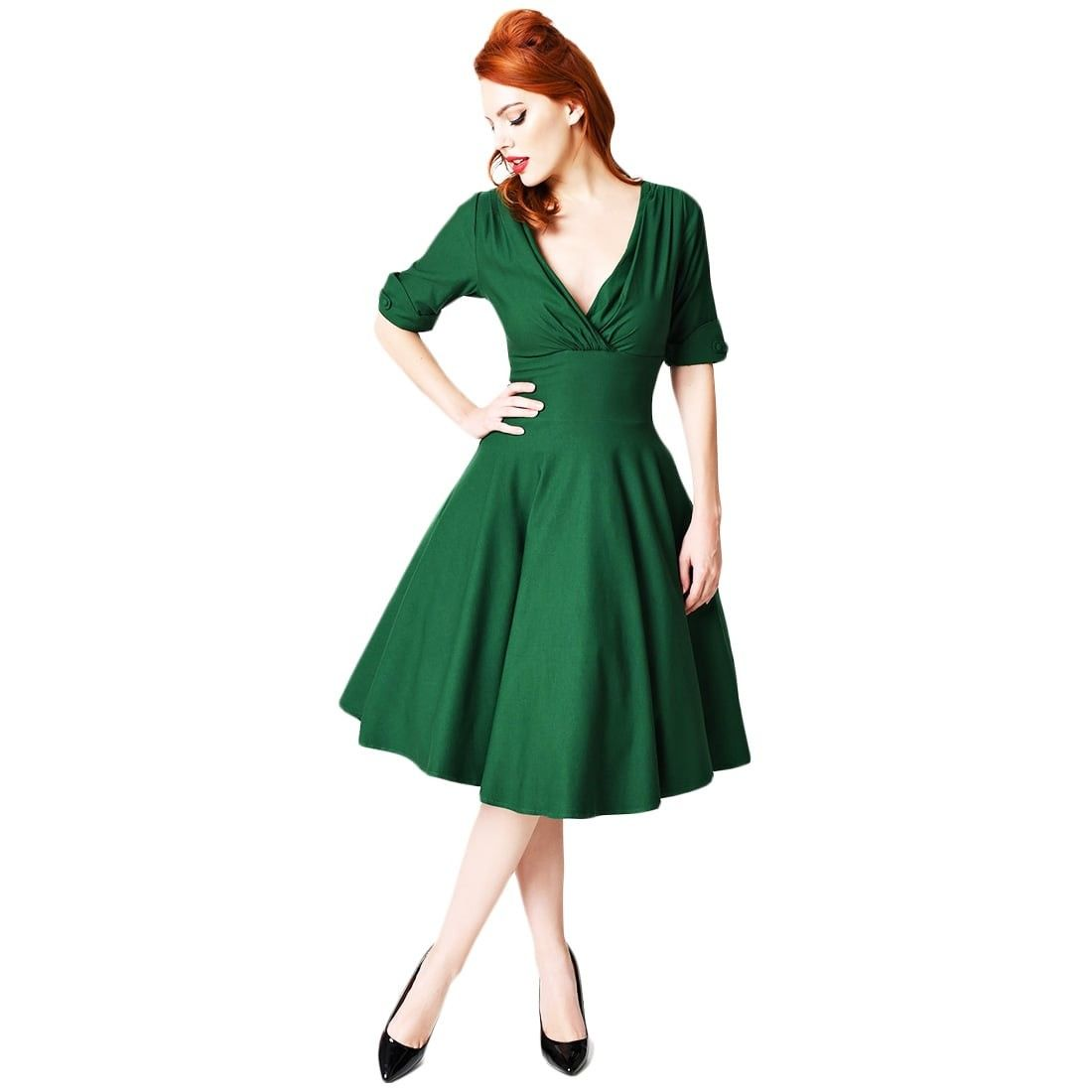 Unique Vintage Delores Dress Green Swing Dress With