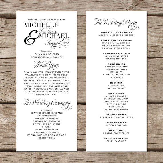Simple Elegant Wedding Program Modern Trendy By Fallfordesign