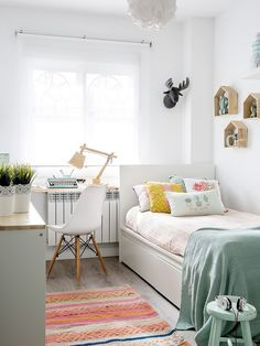 Un dormitorio decorado en mint y blanco casa pinterest - Decoracion habitacion individual ...
