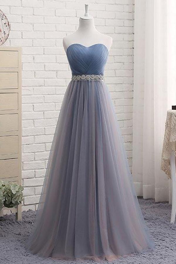 Süß eine Linie Schatz Tüll blau trägerlosen Perlen Abendkleid Brautjungfer Kleider js807   – Products