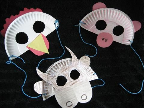 Farm Animal Masks made from paper plates. Very functional for whipping up a quick disguise & Farm Animal Masks made from paper plates. Very functional for ...