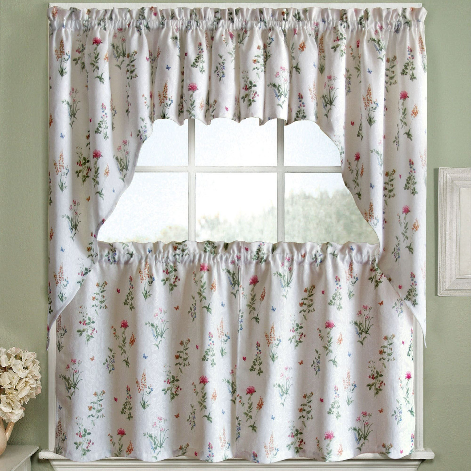 English Garden Floral Jacquard Kitchen Curtains 24 Inch, 36 Inch Kitchen  Curtains, Set Of 38 Inch Swag Pair Or 12 Inch Valance White