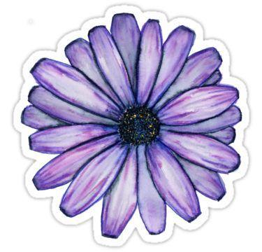 Watercolor Purple Daisy Flower   Sticker   Products in 2019
