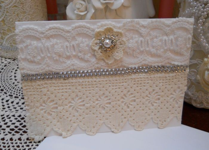 Look what I just bought on TheCraftStar All Occasion Greeting Card, heavy card stock, handmade white , ivory, pearl, bling, vintage bridal lace #uniquegifts @TheCraftStar