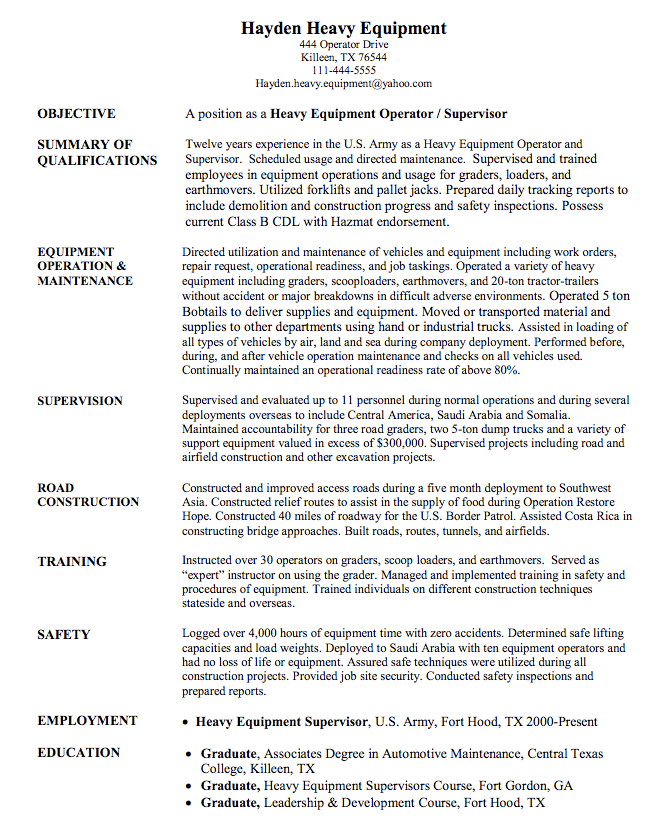 heavy equipment operator sample resume - http://exampleresumecv.org ...