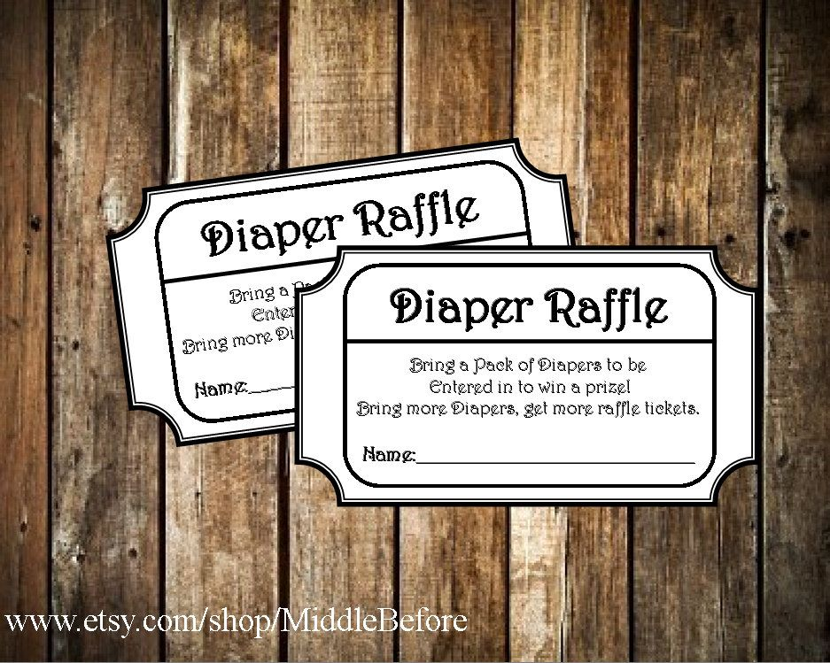 Black  White Printable Baby Shower Diaper Raffle Ticket