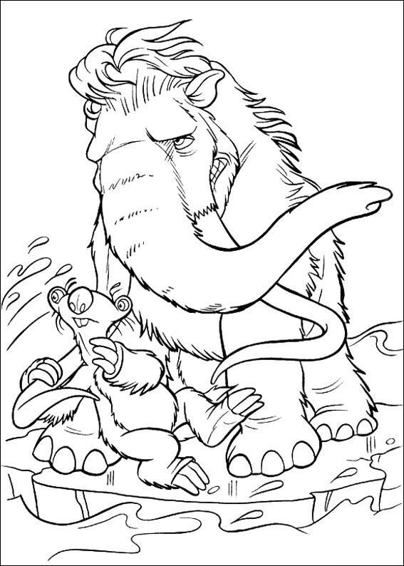 kleurplaat Ice Age 2 - Manny en Sid | 123 | Cartoon coloring pages ...