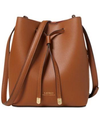 d9d675965e Lauren Ralph Lauren Dryden Debby Ii Mini Leather Drawstring Bag - Field  Brown Monarch Orange