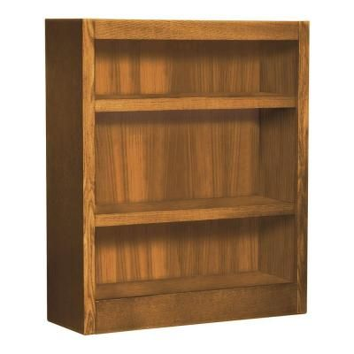 Concepts In Wood 36 In Dry Oak Wood 3 Shelf Standard Bookcase