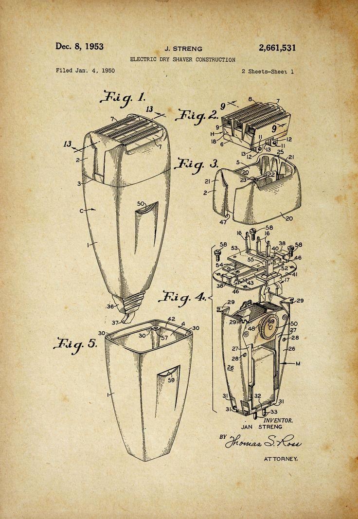 Electric Shaver Patent Poster Barber Shop Decor | Pinterest | Barber ...
