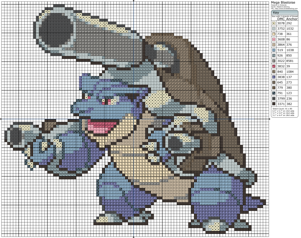 Mega Blastoise | Pokemon en punto cruz | Pinterest | Cross stitch ...