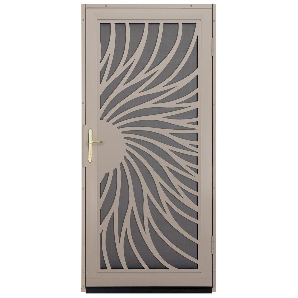Unique Home Designs 36 In X 80 In Solstice Tan Surface Mount Steel Security Door With Insect Screen And Brass Hardware Idr31000362140 The Home Depot In 2020 Steel Security Doors Security