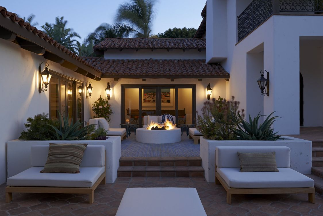 Feuerstelle, Garten, Terrasse, Modern | Feuerstellen Im Garten ... Moderne Gartenterrasse Wohnung Dachterrasse