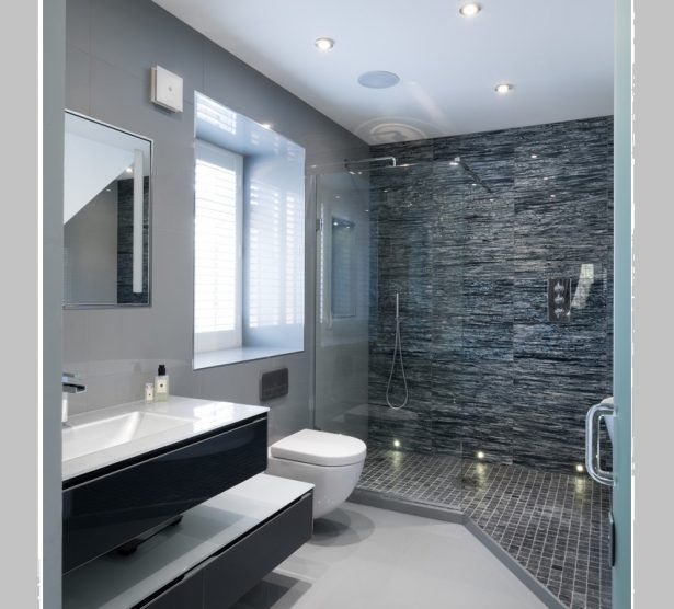 Ceiling Spotlight Vanity Furniture Monochrome Bathroom Mosaic Tiles Modern Silver Spotlights Marble Shower Wall
