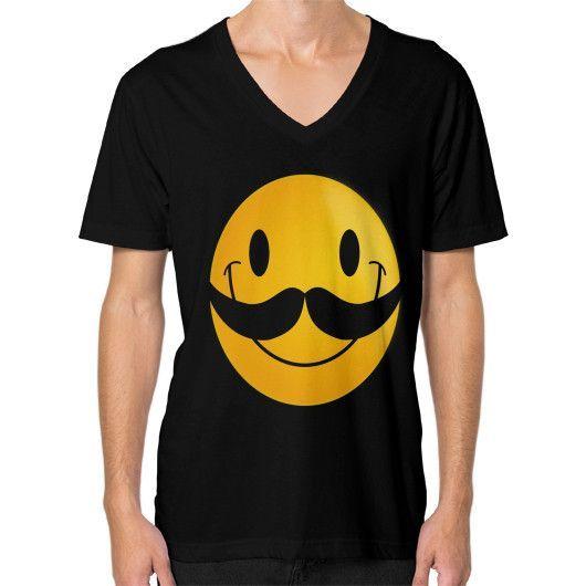 MUSTACHE SMILEY ON AMERICAN APPAREL V-Neck (on man)