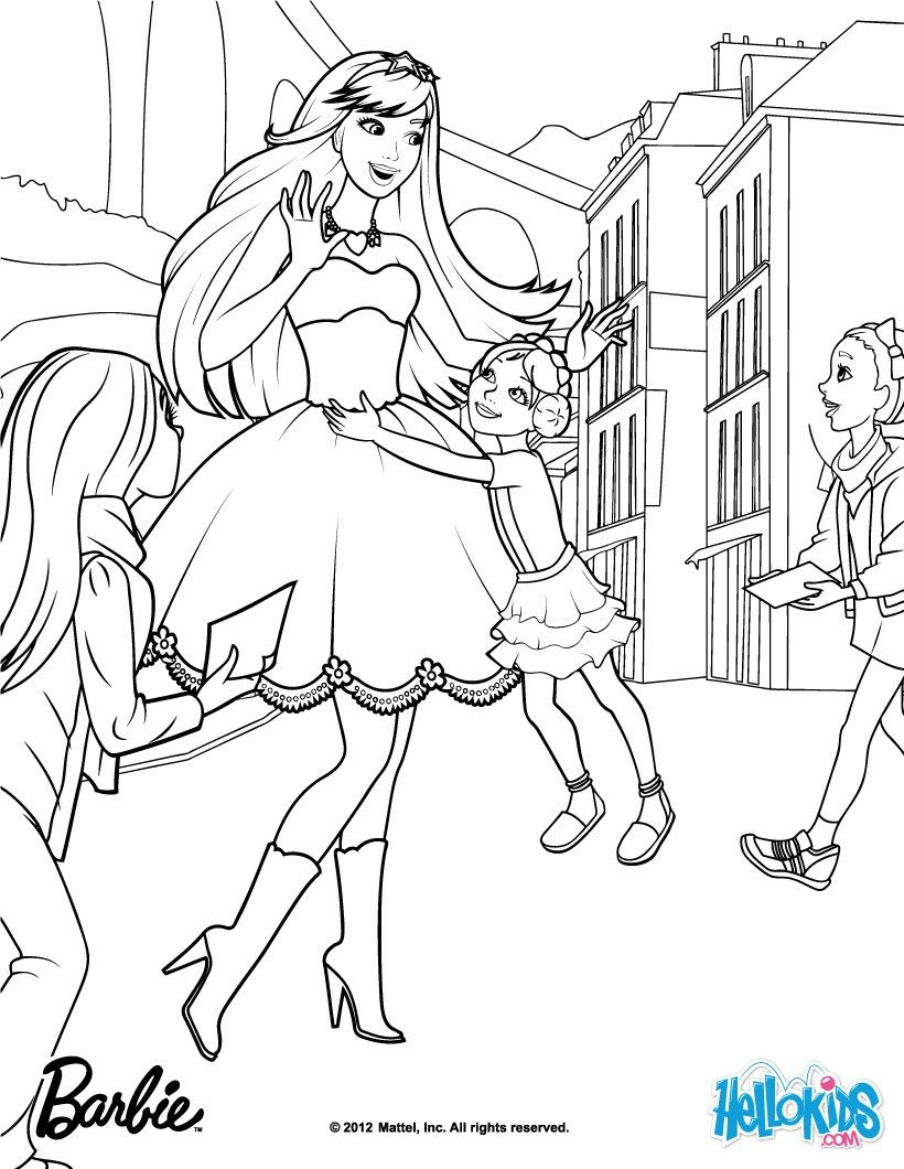 Keira With Her Fans Barbie Coloring Page More Barbie The Princess The Popstar Coloring Pages On Helloki Barbie Coloring Pages Coloring Pages Barbie Coloring