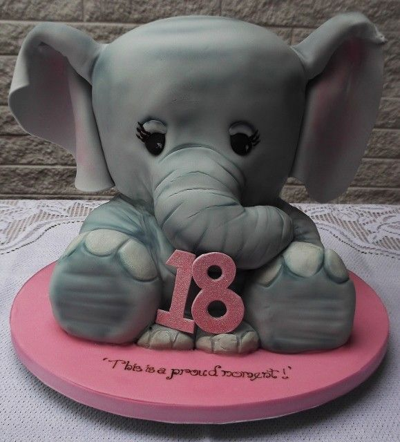 Amazing A Baby Elephant Carved Cake Made For An 18Th Birthday Which Would Funny Birthday Cards Online Necthendildamsfinfo