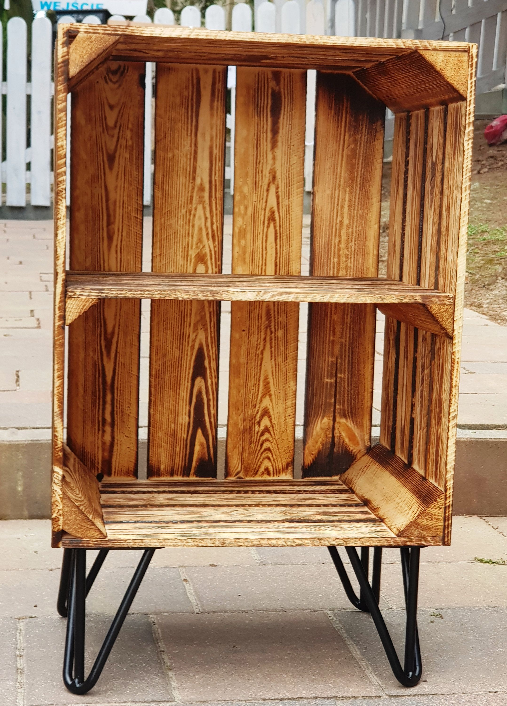 Regal Mit Fussen Hairpins Nachttisch Beistelltisch Kuchenregal Schuhregal Flurregal Badregal Holzregal Tisch Badezim In 2020 Diy Regal Holzkisten Mobel Zum Selbermachen