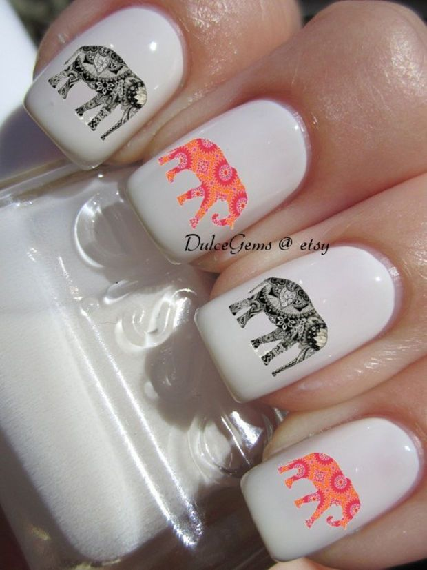Indian Patterned Elephant Nail Decals