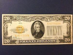 20 Dollar Gold Notes Us 20 Twenty Dollar Gold Certificate Bill