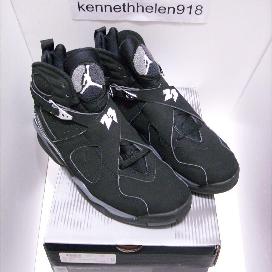 614a88471b7b00 eBay  Sponsored NEW 2003 NIKE AIR JORDAN 8 VIII RETRO BLACK CHROME  305381-001 MENS SIZE 9