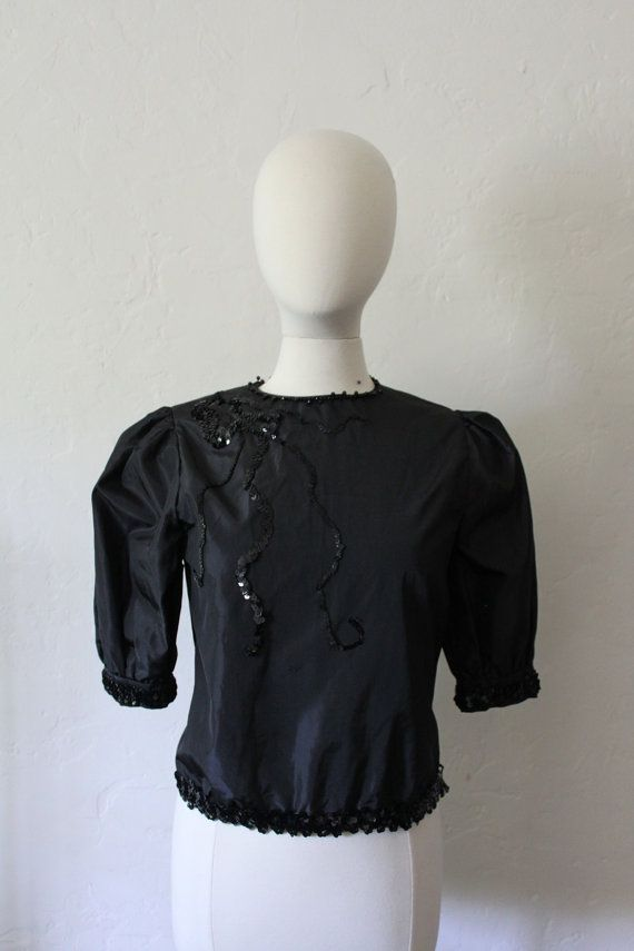 Nights at the Circus - Puff Sleeve Taffeta Blouse by FeralVintage