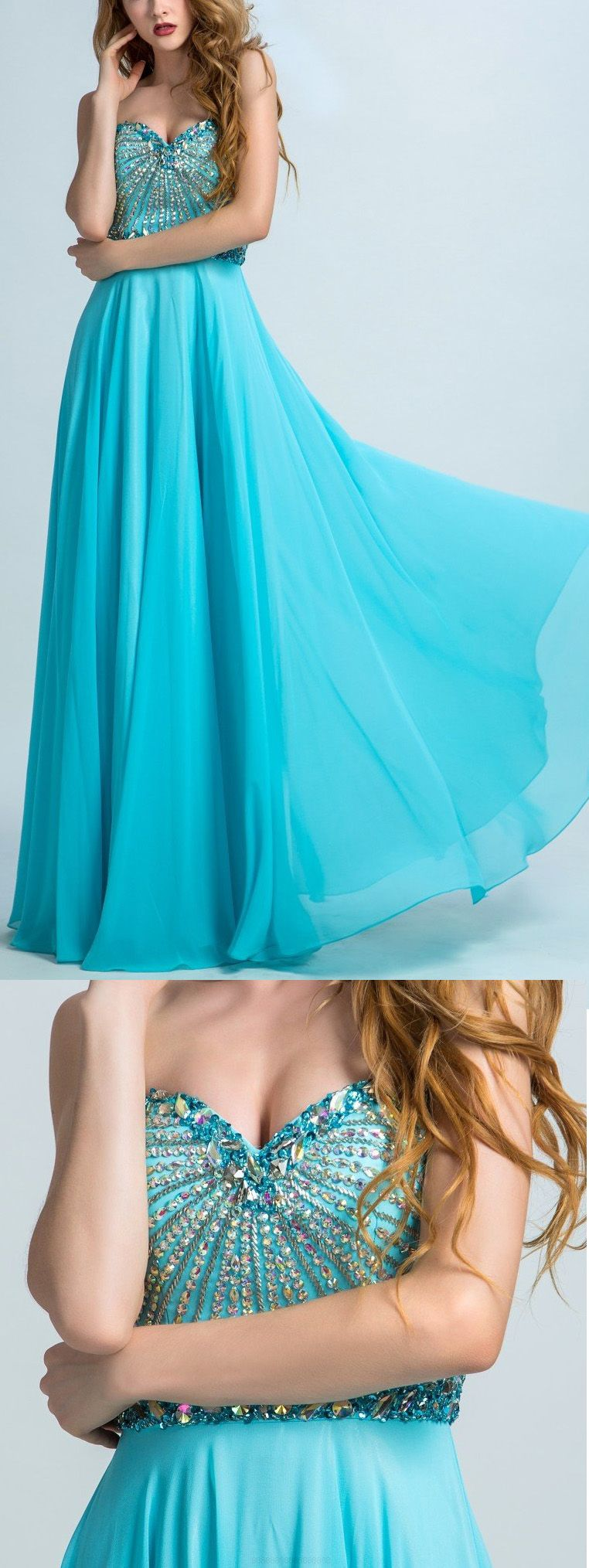 Sweetheart evening dresses light blue long prom dresses beautiful