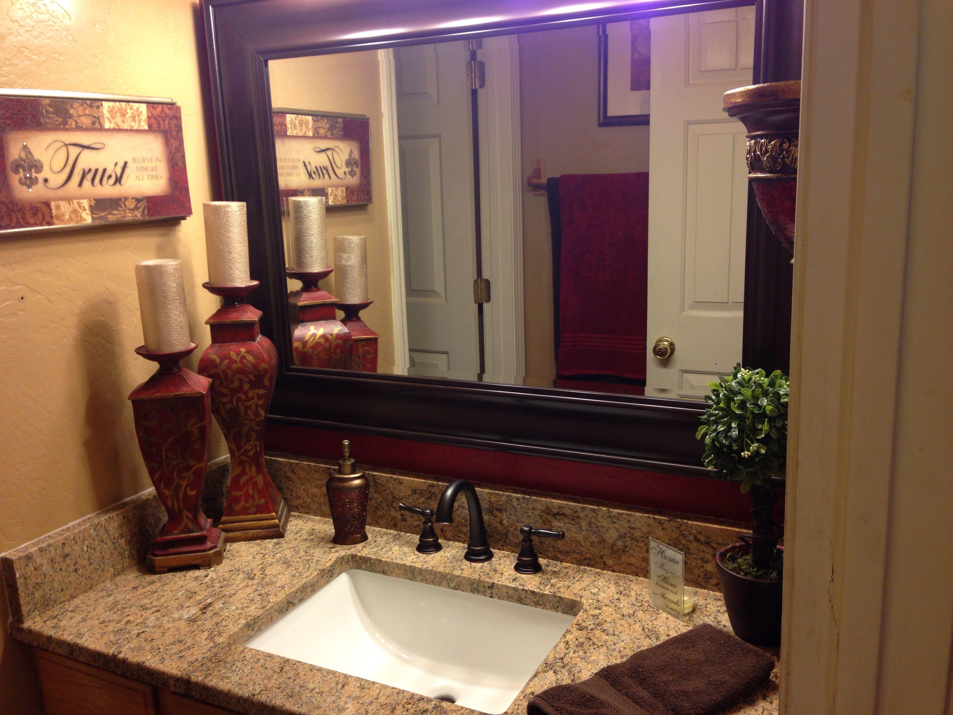 Tan & Red Bathroom Remodel Bellagio Sand Granite Counter Tops