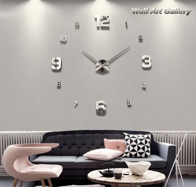 Wanduhren Modern Design Wanduhr Edge Clock Big Moderne: Goedkope Home Decoratie! Grote Spiegel Digitale Wandklok